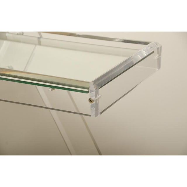 Transparent Mid-Century Lucite Tea Cart with Two Mirrored Shelves For Sale - Image 8 of 8