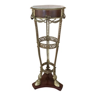 19th Century French Louis XVI Marble Top Brass Pedestal For Sale