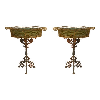 French Victorian Wrought Iron Planters - a Pair For Sale