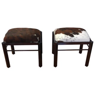 Pair of Midcentury Metal Cow Hide Benches or Ottomans For Sale