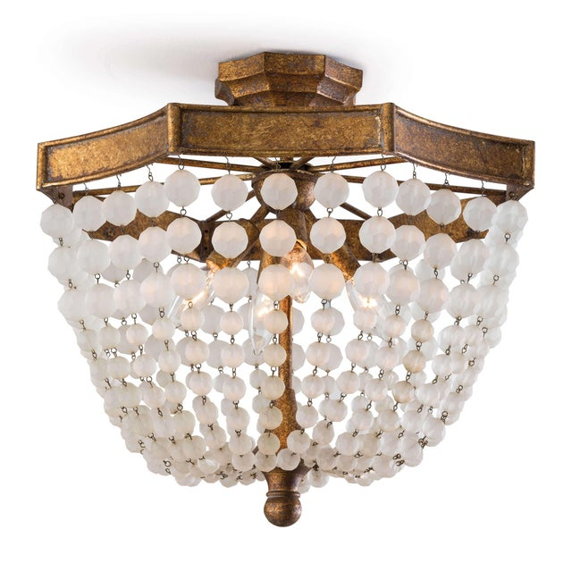 Not Yet Made - Made To Order Frosted Crystal Bead Semi Flush Mount For Sale - Image 5 of 5