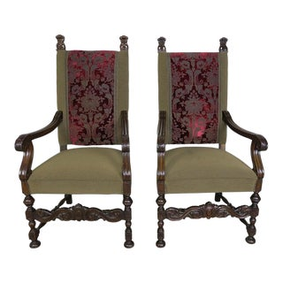 19th Century French Style Throne Style Armchairs - a Pair For Sale