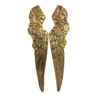Mid 20th Century Carved Gold Gilt Decorated Angel Wings - Set of 2 For Sale