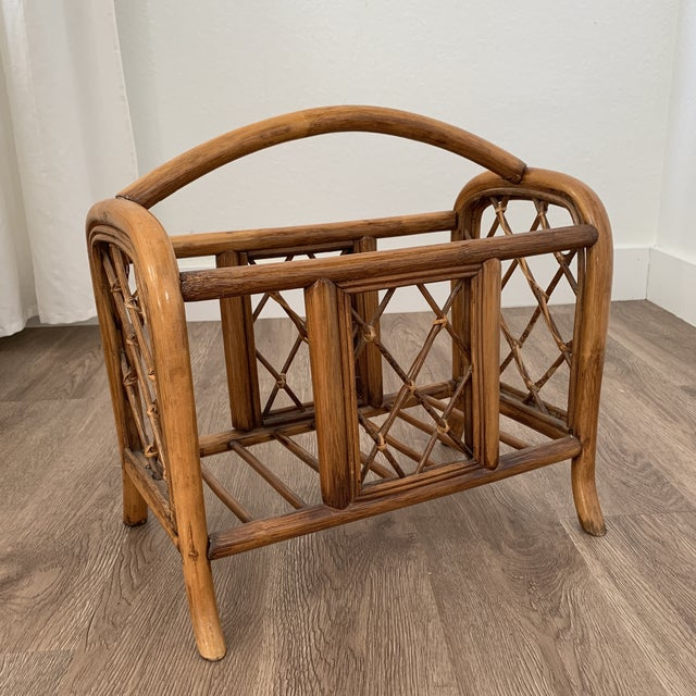 Wood Vintage Pencil Reed and Rattan Bamboo Magazine Book Holder For Sale - Image 7 of 7