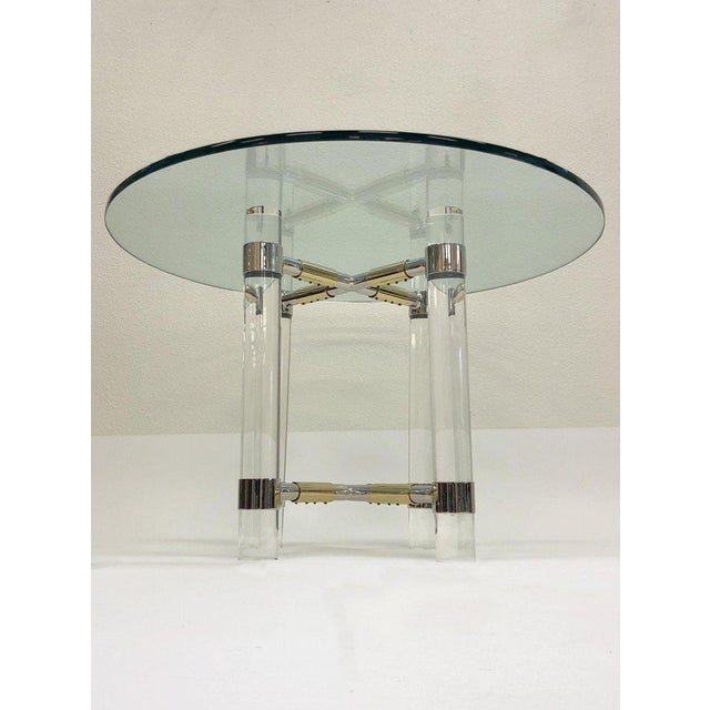Modern Chrome and Polish Brass Continental Height Table by Charles Hollis Jones For Sale - Image 3 of 10
