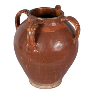 Late 1800s French Glazed Terracotta Water Jar For Sale