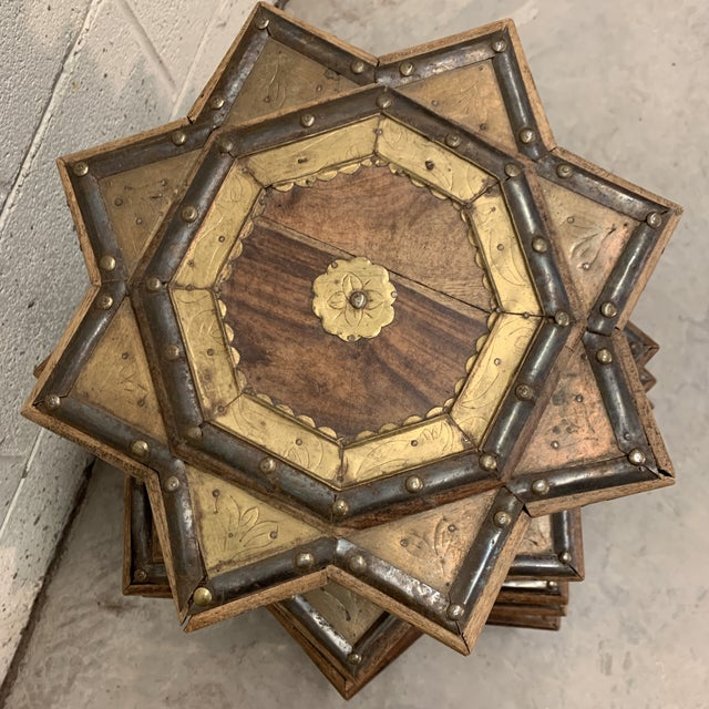 Vintage Moroccan Star Stacking Tables For Sale - Image 4 of 12