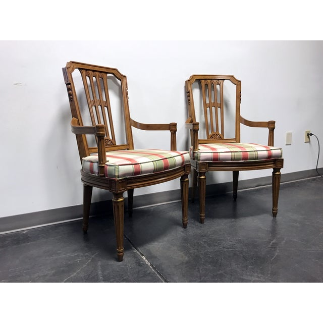 HENREDON Capri Mid Century Italian Provincial Neoclassical Style Dining Captain's Arm Chairs - Pair 22w 24d 39h, seats are...