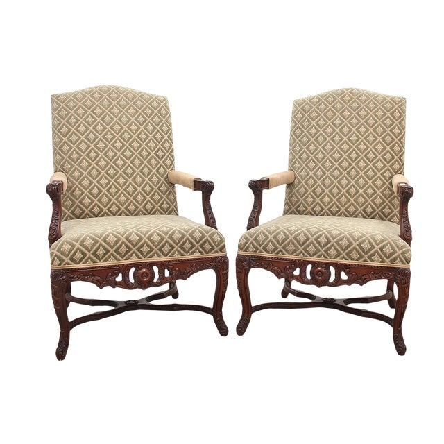 Carved Italian Style Armchairs, a Pair For Sale