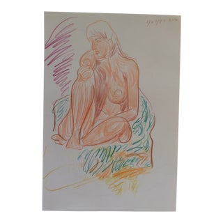 1997 Female Nude Colored Pencil by James Bone For Sale