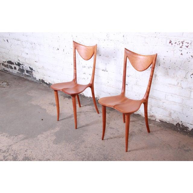 "Contemporary Oskar Kogoj Studio Craftsman Sculptural ""Venetia"" Chairs - a Pair For Sale - Image 3 of 13"