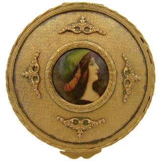 Antique French Gilt Bronze Dresser Box With a Hand Painted Enamel Portrait For Sale