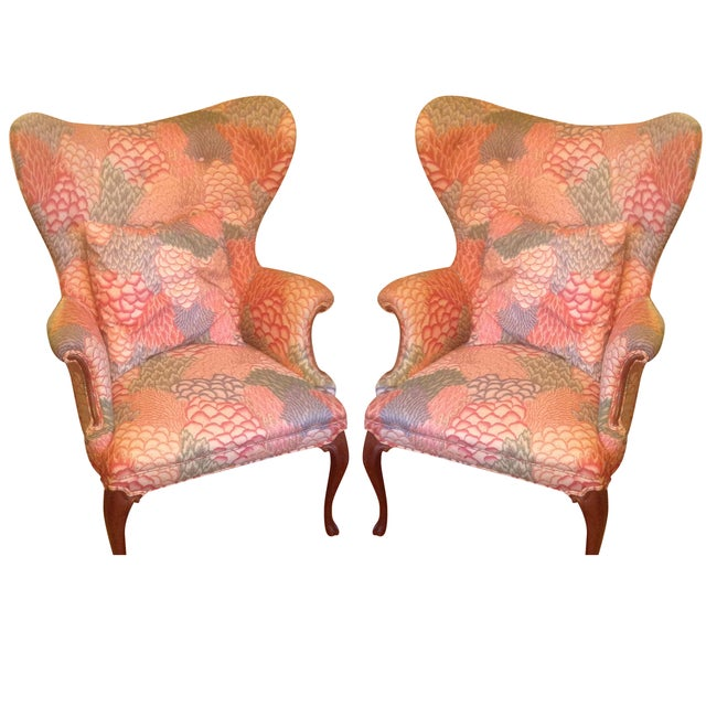 Queen Anne Round Style Arm Chairs - Pair - Image 1 of 3