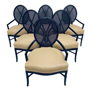 Set of Six McGuire Rattan and Bamboo Dining Arm Chairs With Leather Seats For Sale