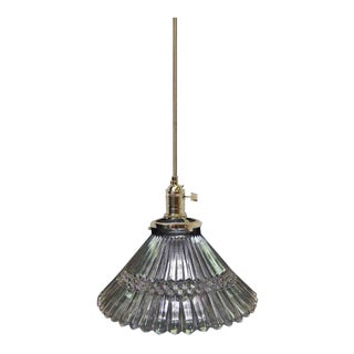 "Vintage 5.5"" Glass Holophane Pendant Light"
