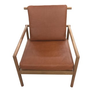Pair of Oak and Leather Modern Club Chairs For Sale