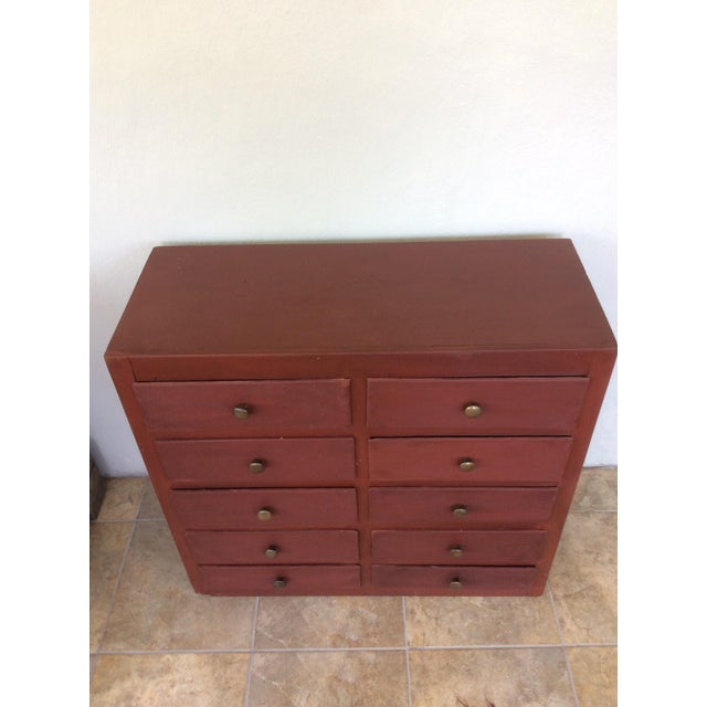 Paint 1960s Shabby Chic Wooden 10-Drawer Cabinet For Sale - Image 7 of 8