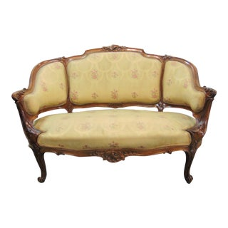 19th C Louis XV Carved Walnut Settee For Sale