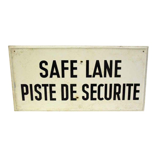 20th Century French Safe Lane Sign For Sale