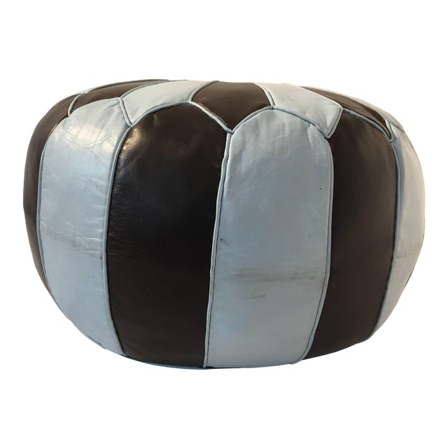Moroccan Round Leather Pouf Hand-Tooled in Marrakesh For Sale