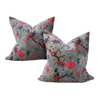 Super Soft Chinoiseri Cotton Velvet Pillow Pair For Sale
