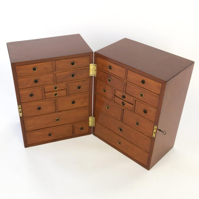 Campaign Style Solid Mahogany Apothecary Chest, Circa 1860 For Sale - Image 9 of 10