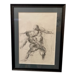 Charcoal on Paper Sketch of Dancing Duo For Sale