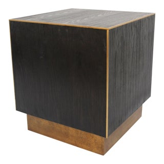 Cube Wood & Brass Side Table For Sale