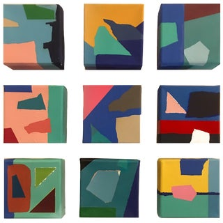 Original Abstract Acrylic Paintings by Brooks Burns - Set of 9 For Sale