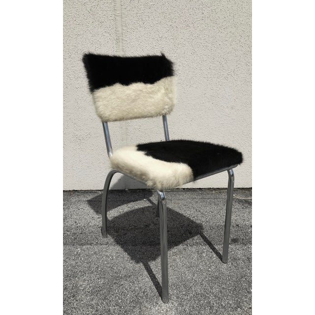 Cowhide Upholstered Chrome Chairs - Set of 4 For Sale - Image 9 of 11
