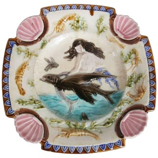 19th Century Square Majolica Mermaid Wall Plate For Sale