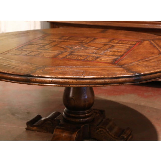 Mid 20th Century Mid-Century French Carved Walnut Pedestal Round Dining Table With Parquetry Top For Sale - Image 5 of 13