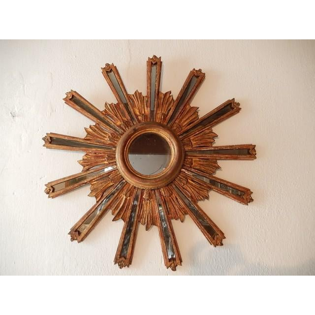 1900 Italian Giltwood Starburst Mirror with Mirrored Rays For Sale - Image 11 of 11