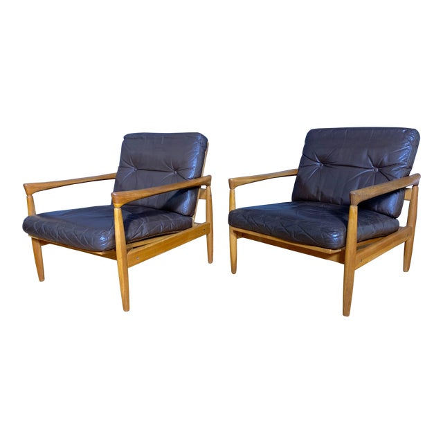 Pair Erik Wørts Solid Oak & Leather Lounge Chairs, Sweden 1960s For Sale