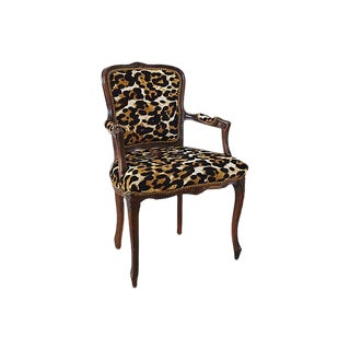 Carved Armchair W/ Cowhide Animal Spots
