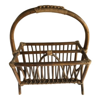 Boho Mid-Century Bamboo Magazine Rack For Sale