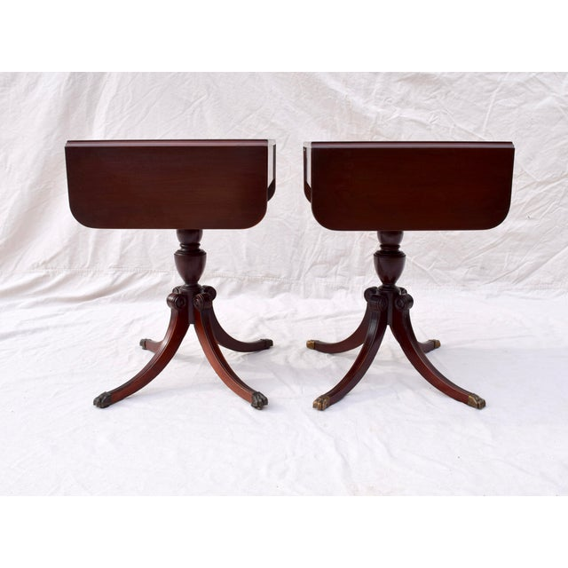 Early 20th Century Mahogany Pembroke Tables With Inlay Detail, Pair For Sale - Image 5 of 13