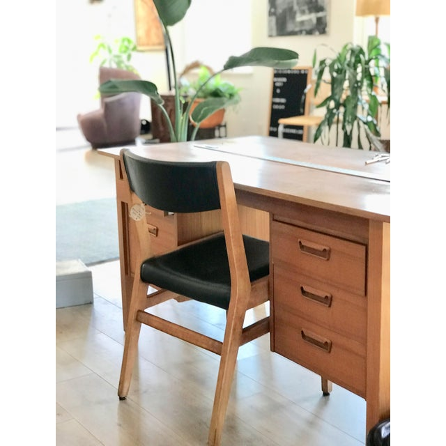 Danish Modern Gun Locke Chair With Original Black Leather Upholstery For Sale - Image 3 of 12