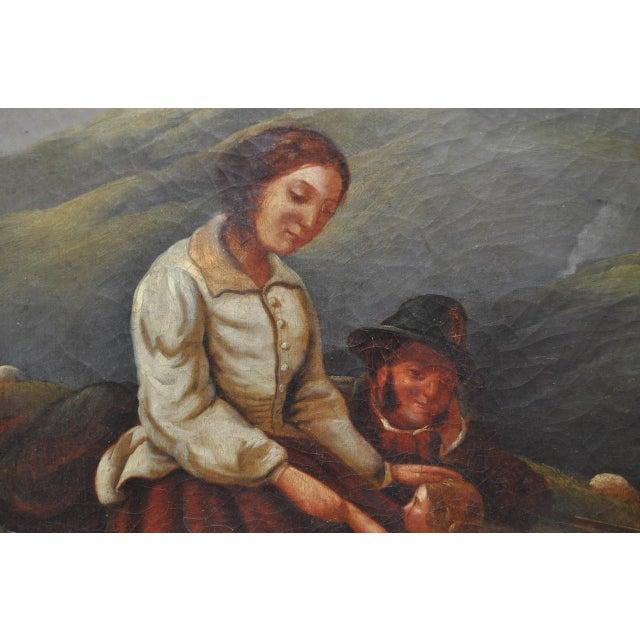 "19th Century European Oil Painting ""Shepherd Family"" - Image 5 of 11"