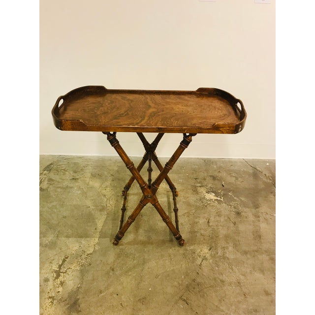 Faux Olive burl campaign tray table.