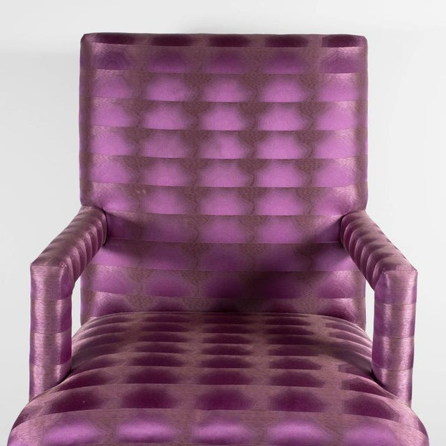 Mid-Century Modernist Eight Dining Chairs in Amethyst and Violet Bergamo Fabric For Sale - Image 4 of 9