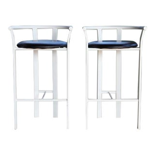 1980s Post Modern White Metal + Black Counter Bar Stools For Sale