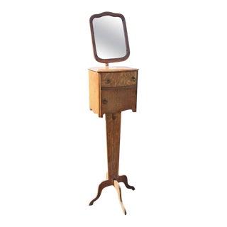 Antique Oak Shaving Mirror Stand