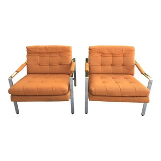 Mid-Century Modern Milo Baughman Chrome Lounge Chairs - A Pair For Sale