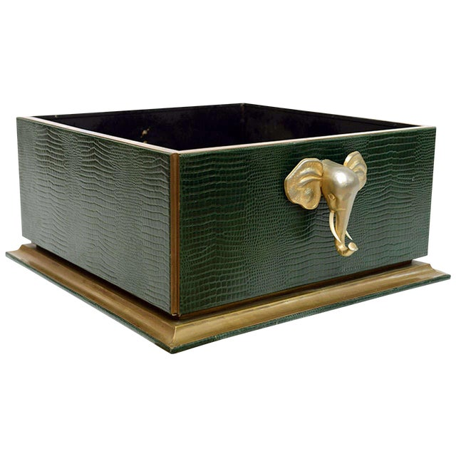 Ornamental Emblazoned Brass & Ivory Elephant Box For Sale