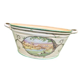 Antique Painted Footbath With Country Scene For Sale