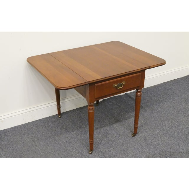 20th Century Tradiitonal Statton TruType Americana Solid Cherry Drop Leaf Pembroke End Table For Sale - Image 11 of 13