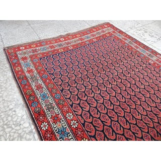 Large Kurdish Rug Runner, Vintage Handmade Extra Long and Wide Hall Rug, Blue and Orange Color Carpet Runner - 3′8″ × 13′3″ Preview