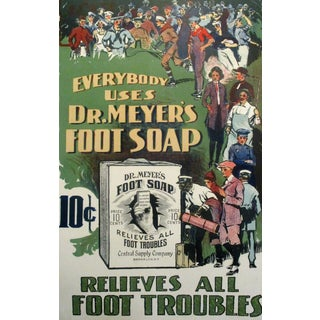 Dr. Meyers Foot Soap Original 1920's Vintage Lithograph Advertisement - Mounted on Linen For Sale