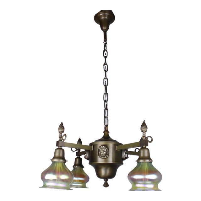 "Arts & Crafts ""Monk Head"" Fixture with Art Glass (4-Light) - Image 1 of 8"